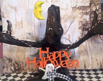 Halloween decor halloween centerpiece happy halloween creepy tree ghost moon frankenstein ooak art doll