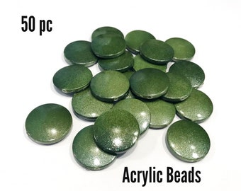 green plastic beads, 50pc acrylic beads, coin beads, destash beads, beads for jewelry making unique, kids beads, discount beads, diy beads