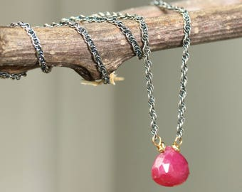 Tiny teardrop faceted ruby pendant necklace and oxidized sterling silver chain