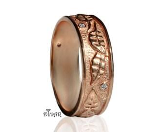 14k Hand engraved leaf wedding band, leafs wedding ring , vintage leaf gold band , 18k solid rose gold engraved leaf band, woodland leafs