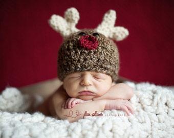 reindeer hat, baby reindeer beanies, newborn reindeer hat, newborn christmas props, xmas photo props, reindeer hats for boys, reindeer