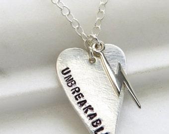 Heart & Lightning Bolt Necklace • Unbreakable Heart • Inspirational Jewelry • Heart Pendant • Heart and Lightning Charm • Tough Girl