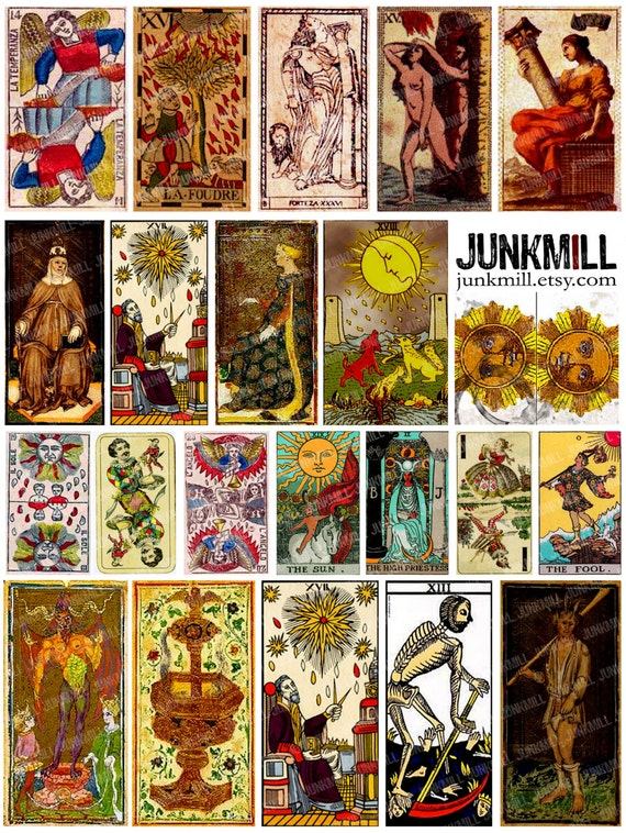 Medieval Tarot Digital Printable Collage Sheet Vintage: MEDIEVAL TAROT Digital Printable Collage Sheet Vintage