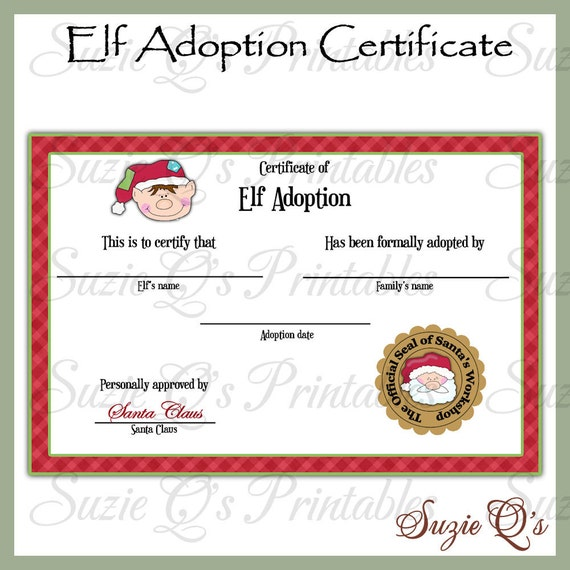 elf adoption certificate us and international sizes