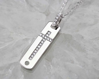 Sterling Silver Tag Cross