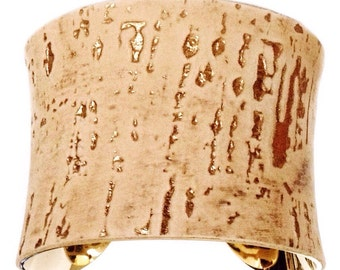 Gold Embossed Cork Finished Suede Cuff - by UNEARTHED