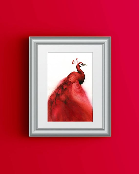 Red Peacock Print Peacock Painting Red Painting Gift