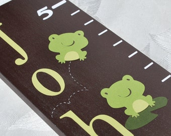 Wood Growth Chart . Froggy Fun . John . on espresso wood with frogs