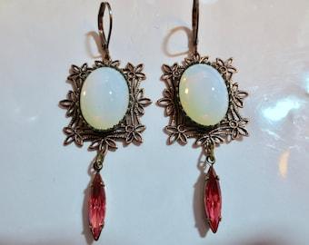 Art Nouveau earrings lacy Edwardian vintage style opal glass Art Deco earrings copper finish rose drop earrings