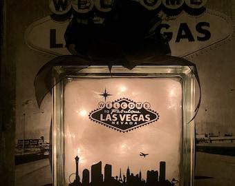 Welcome To Fabulous Las Vegas - Large Glass Block Light