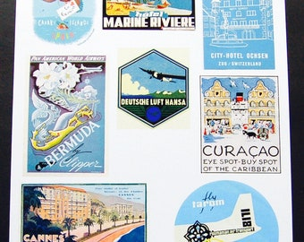 Vintage Luggage Label Images Paper, on Card Stock 8.5 X 11 Sheet B-2. NOT Digital.