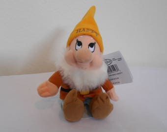 """Disney Mini Beanbag Plush """"Happy"""" One Of The Seven Dwarfs From The Fairy Tale """"Snow White""""/New With Tags/Look How Happy This Little Dwarf Is"""