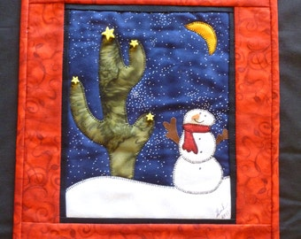 Snow Man Quilted Wall Hanging