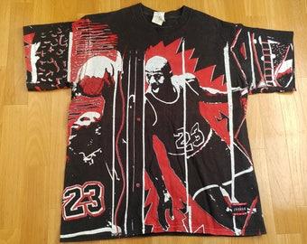 NIKE t-shirt, vintage gray basketball jersey, old school 90s hip hop clothing, 1990s Michael Jordan, cotton shirt, size M Medium Made in USA