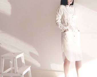 White long shirt dress work dress, office dress gifts for her