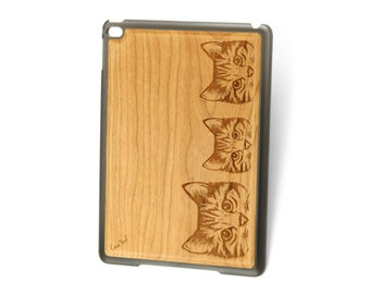 iPad Air case, iPad Mini case, iPad Mini 2 case, iPad 3 case, iPad engraved case, custom iPad case,Kittens wood engraved case