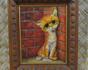 Big Eye/Sad Eye Pity Kitty framed print by GIG (Keane style)
