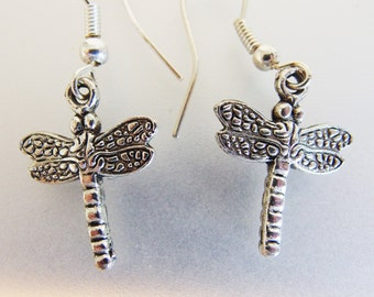 Vintage Embossed Silver Tone Small Dragonfly Earrings Jewelry   Dragonfly Jewellery   Dragonfly Drop Earrings   Gift Jewelry for Her