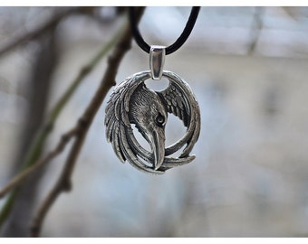 Viking Norse Raven Neckace Odins Pendant Huginn and Muninn Jewelry