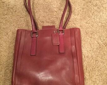 RAre Coach Bonnie Burgundy Legacy Tall Leather Handbag Costa Rica 9422 Rare