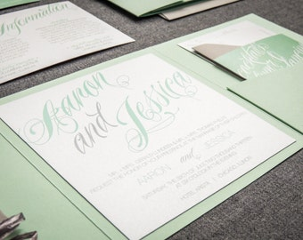 "Mint Green Wedding Invitations, Green and Grey Invitations, Modern Striped Invite, Raffia Invitation Set - ""Sweeping Script"" PF-NL-v2 SAMPLE"