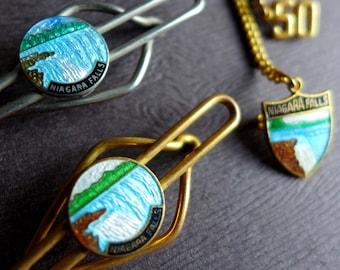 Vintage Niagara Falls Tie Bars and Pin Set, New York State Souvenir Enamel Tie Bar, Vintage Travel Jewelry, New York Travel Jewelry