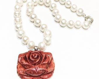 Freshwater Pearl and Carved Coral Rose Necklace