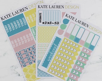 Pastel Stickers, Weekly Planner, Erin Condren Sticker Kit, Planner Kit, Weekly Spread, Weekly Stickers, Erin Condren Weekly Kit