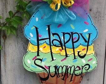 Happy summer door hanger, welcome summer door sign, summer fun door sign,  ice cream cone door hanger, ice cream door sign, dessert sign