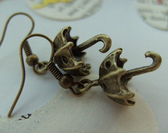 Mary Poppins, Cute, bronze, Umbrella, Earrings, rain, open, dots, 3d , by NewellsJewels on etsy