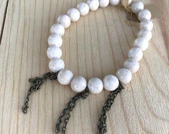 Riverstone Bracelet/ Bronze Chain Tassel/ Beaded Bracelet/ Handmade/ Women's Accessories/ Arm Candy