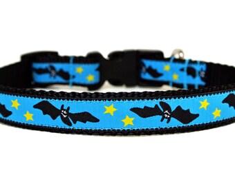 """Halloween Dog Collar 5/8"""" Bat Dog Collar SIZE SMALL Ready to Ship Dog Collar"""