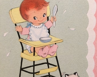 Vintage Baby Card Baby with Kitten New Parents Baby Girl