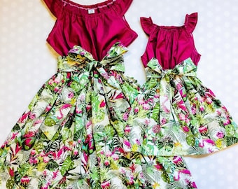 Mommy and Me Dresses - Mother Daughter Outfits - Mother Daughter Dresses - Matching Dresses - Tropical Dresses - Mothers Day Gift - Leaf