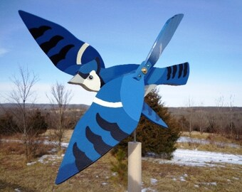 Blue Jay Whirligig - Yard Ornament - Brightly Colored - Hand Crafted