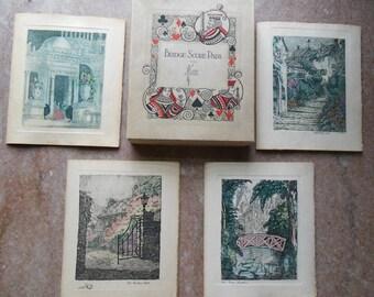 1920 Bridge Card Game Holmes Garden Etching Score Cards