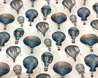 Hot air balloon basket fabric - blue gray beige - fabric steampunk - fabric style retro - vintage style fabric - 1/2 meter