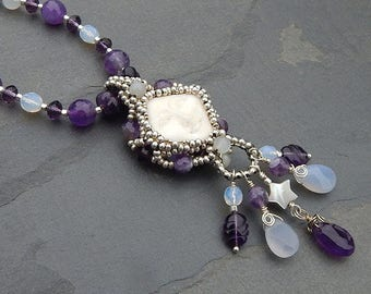 Snow Moon Adjustable Beaded Necklace with Carved Bone Face, Amethyst and Moonstone - February Full Moon Birthstone with Sterling Silver