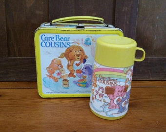Vintage Metal Care Bear Cousins Lunch Box With Thermos