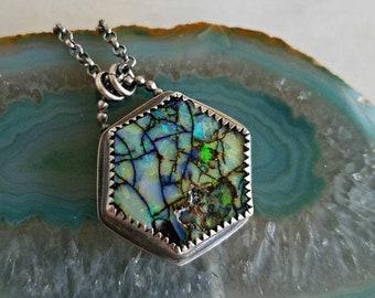 destash Cultured Opal Hexagon Pendant, Sterling Silver