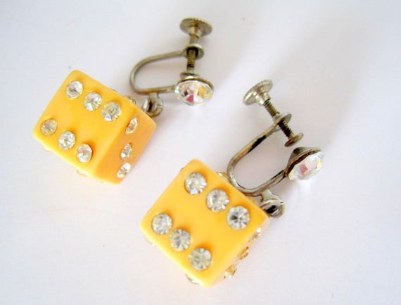 Yellow Bakelite Dice Earrings, Art Deco Dangles - Rhinestone Enhanced  Screw Backs