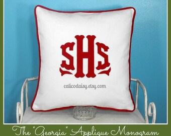 The Georgia Applique Monogram Pillow Cover - 16 x 16 square