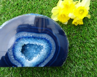 Large Blue Agate Geode Natural Crystals Beautiful cut and polished agate geodes Raw Crystals