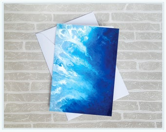 Blue Abstract Art Greeting Card, Fine Art Greeting Card, Blank Card, Birthday Card, Mothers Day Card, Personalised Greeting Card