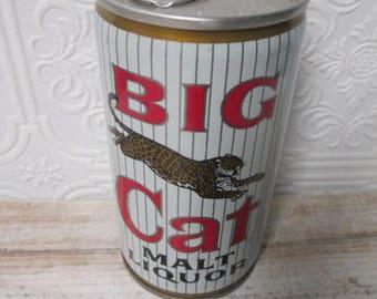 Big Cat Malt Liquor Vintage Can Straight Steel Vintage Pull Tab