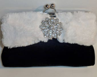 Bridal Clutch Black Velvet and Faux Fur Clutch Bridesmaid Holiday New Year's Evening