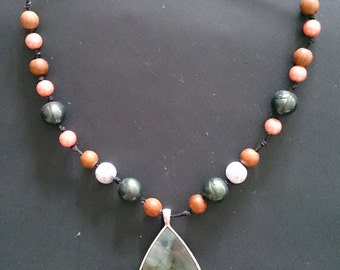 Genuine Mother of Pearl Shell Teardrop Pendant & Mixed Pearl Necklace on Cord
