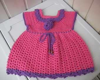 Baby dress, crochet dress, pink dress with flower, little fashionistas dress, baby clothes Crochet, a gift for a child, ready to ship.