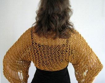 Organic Cotton Yarn Cinnamon Spice Color Lacy Knitted Shoulder Shrug Bolero Sleeves