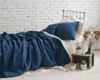 Linen DUVET COVER Navy Blue Queen King Twin Double SEAMLESS Stonewashed  Linen Quilt Cover / Doona Cover. Pure Linen Bedding